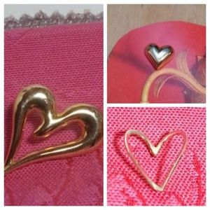 Vintage heart shape gold tie tacs Choice of three